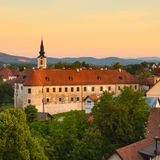 Panorama of Metlika, Slovenia, Europe. Stock Image