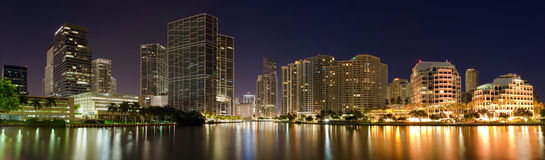 Panorama of Miami. At night from the bridge royalty free stock photo