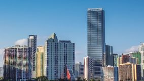 Panorama of Miami Skyline. Panorama of Miami skyscrapers and skyline. Miami South Beach in Downtown District in sunny day. Apartment and business buildings in stock video footage