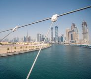 Panorama miasto Dubaj od mosta rzecznego kanału Dubaj zatoczka obrazy stock