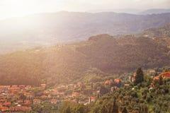 Panorama miasto Montecatini Terme w Tuscany w lecie Włochy, Europa zdjęcia royalty free