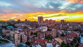 Panorama miasto, zmierzch w Belgrade zdjęcia stock