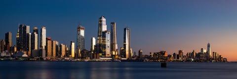 Panorama of Midtown Manhattan and Lower Manhattan at dusk stock images
