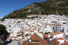 Panorama of Mijas Pueblo white village in Spain. A wide view of houses in Mijas Pueblo white village in Spain, Malaga, Andalucia stock photos