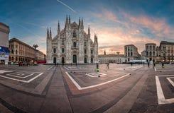 Panorama of Milan Cathedral (Duomo di Milano). MILAN, ITALY - JANUARY 2, 2015: Milan Cathedral (Duomo di Milano) and Piazza del Duomo in Milan, Italy. Milan's Stock Photo
