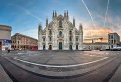 Panorama of Milan Cathedral (Duomo di Milano), Vittorio Emanuele. MILAN, ITALY - JANUARY 2, 2015: Milan Cathedral (Duomo di Milano) and Piazza del Duomo in Milan Stock Images