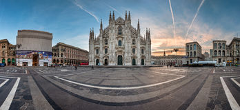 Panorama of Milan Cathedral (Duomo di Milano), Vittorio Emanuele Stock Photos