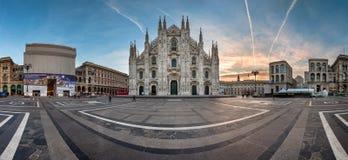Panorama of Milan Cathedral (Duomo di Milano), Vittorio Emanuele. MILAN, ITALY - JANUARY 2, 2015: Milan Cathedral (Duomo di Milano) and Piazza del Duomo in Milan Stock Photos