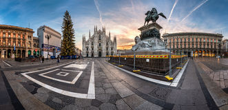 Panorama of Milan Cathedral (Duomo di Milano), Vittorio Emanuele. MILAN, ITALY - JANUARY 2, 2015: Milan Cathedral (Duomo di Milano) and Piazza del Duomo in Milan Royalty Free Stock Photo