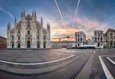 Panorama of Milan Cathedral (Duomo di Milano), Vittorio Emanuele. MILAN, ITALY - JANUARY 2, 2015: Milan Cathedral (Duomo di Milano) and Piazza del Duomo in Milan Stock Photo