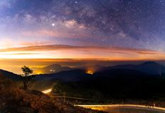 Panorama Milky Way Galaxy with light city at Doi inthanon Chiang mai, Thailand. Aquila astro astronomy astrophotograph astrophotography atmosphere background stock photos