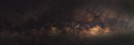Panorama Milky Way galaxy, Long exposure photograph, with grain Royalty Free Stock Image