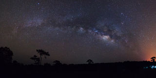 Panorama milky way galaxy at Phu Hin Rong Kla National Park,Phit Stock Photography