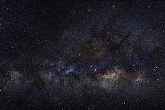 Panorama Milky way galaxy with stars and space dust in the universe, Long exposure photograph, with grain. royalty free stock photography