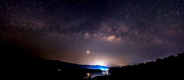 The Panorama Milky Way rises over the dam in Thailand. Stock Photos