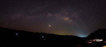 The Panorama Milky Way rises over the dam in Thailand. Royalty Free Stock Image
