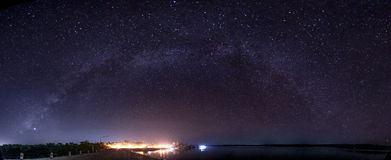 The Panorama Milky Way rises over the dam in Thailand. Royalty Free Stock Photos