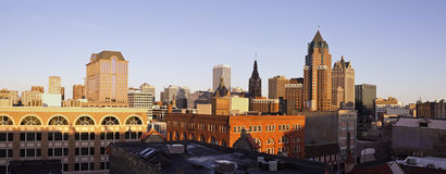 Panorama of Milwaukee. Panorama of downtown Milwaukee - seen during sunset Royalty Free Stock Photography