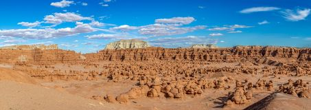 Panorama of Hoodoo Formations in Goblin Valley State Park, Utah, USA. Panorama of Miniature Hoodoo Formations in Goblin Valley State Park, Utah, USA royalty free stock images