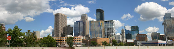 Panorama of Minneapolis skyline viewed from the northwest Stock Photo