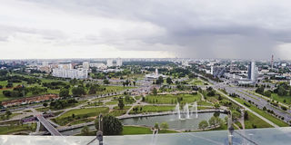 Panorama of Minsk. MINSK, BELARUS - AUGUST 18:  On the building of the National Library in Minsk opened observation deck on August 18, 2012 in Minsk, Belarus. On Royalty Free Stock Photography