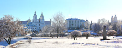 Panorama of Minsk, Belarus. On a sunny winter day Royalty Free Stock Photos