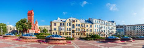 Panorama of Minsk independence square, Belarus royalty free stock photo