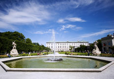 Panorama of the Mirabell Palace with fountain Stock Photography