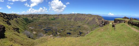 Panorama from the Mirador Volcano Rano Kau Royalty Free Stock Image