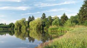 Panorama mirror lake Royalty Free Stock Photo