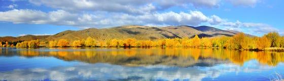 Panorama of mirror lake, New Zealand Royalty Free Stock Photos