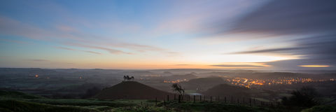 Panorama misty countryside landscape vibrant dawn sunrise Stock Photos