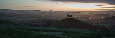 Panorama misty countryside landscape vibrant dawn sunrise Royalty Free Stock Photos