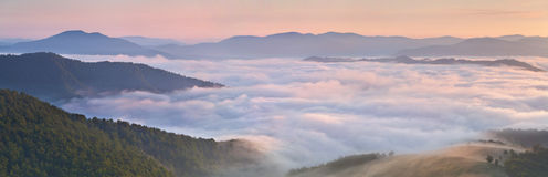 Panorama of misty morning Stock Photography