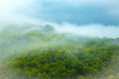 Panorama of misty mountain tops Royalty Free Stock Image