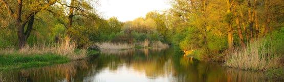 Panorama mit Fluss während Stockfotografie