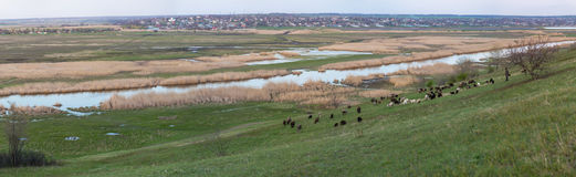 Panorama on the Mius river valley with views of Nikolaevka village.  stock image