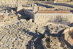 Panorama- modell av forntida Jerusalem Arkivfoto