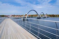 Panorama of modern bridge in Solvesborg Stock Image