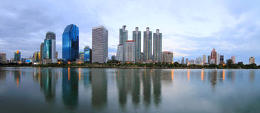 Panorama modern building in the city of bangkok Royalty Free Stock Photo
