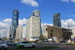 Panorama of the modern center of Warsaw Poland royalty free stock photos