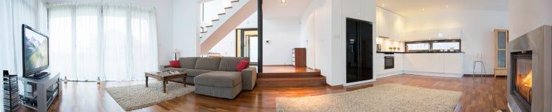 Panorama of modern interior Royalty Free Stock Photos