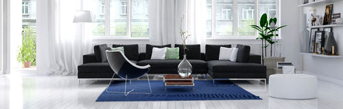 Panorama of a modern living room interior Stock Image
