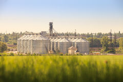 Panorama of modern metal silo in countryside Royalty Free Stock Images