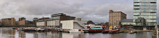 Panorama, modern part of Dublin Docklands or Silicon Docks after Stock Photography