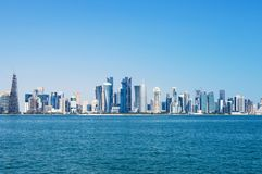 Panorama of modern skyscrapers in Doha, Qatar. Concept of finance luxury world stock photography