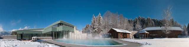 Panorama of a modern swimming pool and sauna area Stock Photo