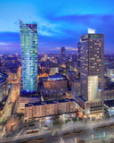 Panorama of modern Warsaw by night stock images