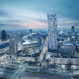 Panorama of modern Warsaw by night royalty free stock images