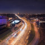 Panorama of modern Warsaw by night royalty free stock photography